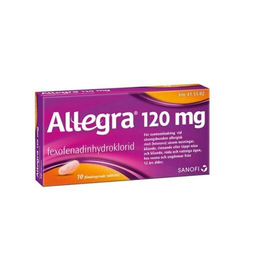 Allegra filmdragerad tablett 120 mg 10 st på apotek.nu EAN 7046264155028