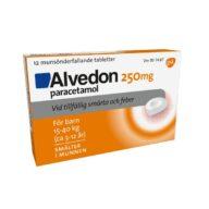 Alvedon Munsönderfallande tablett 250 mg 12 st på apotek.nu EAN 07046260074873