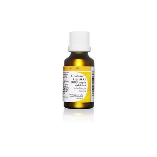 D-vitamin Olja ACO orala droppar lösning 80 IE/droppe 25 ml EAN 7046261129497