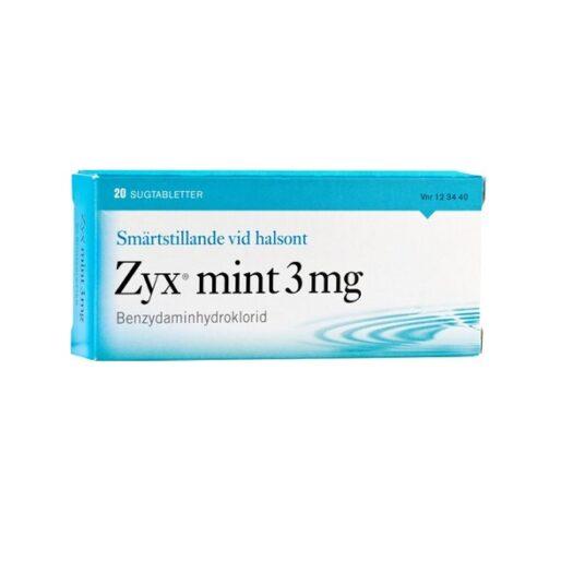 Zyx Mint sugtablett 3 mg 20st på apotek.nu EAN 07046261234405