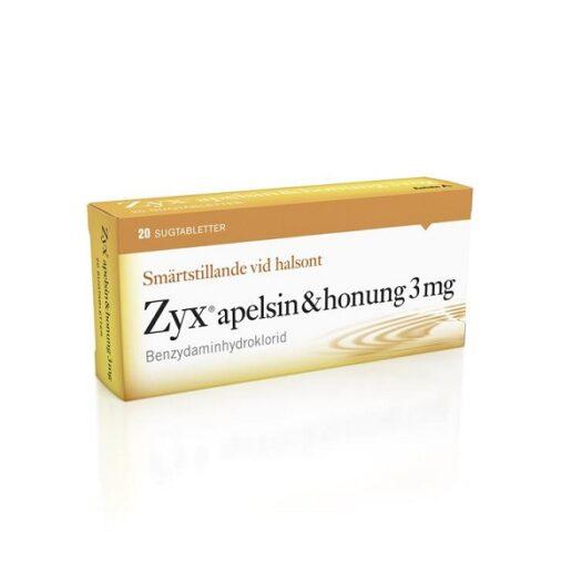 Zyx Apelsin & Honung sugtablett 3 mg 20 st på apotek.nu EAN 7046264187470