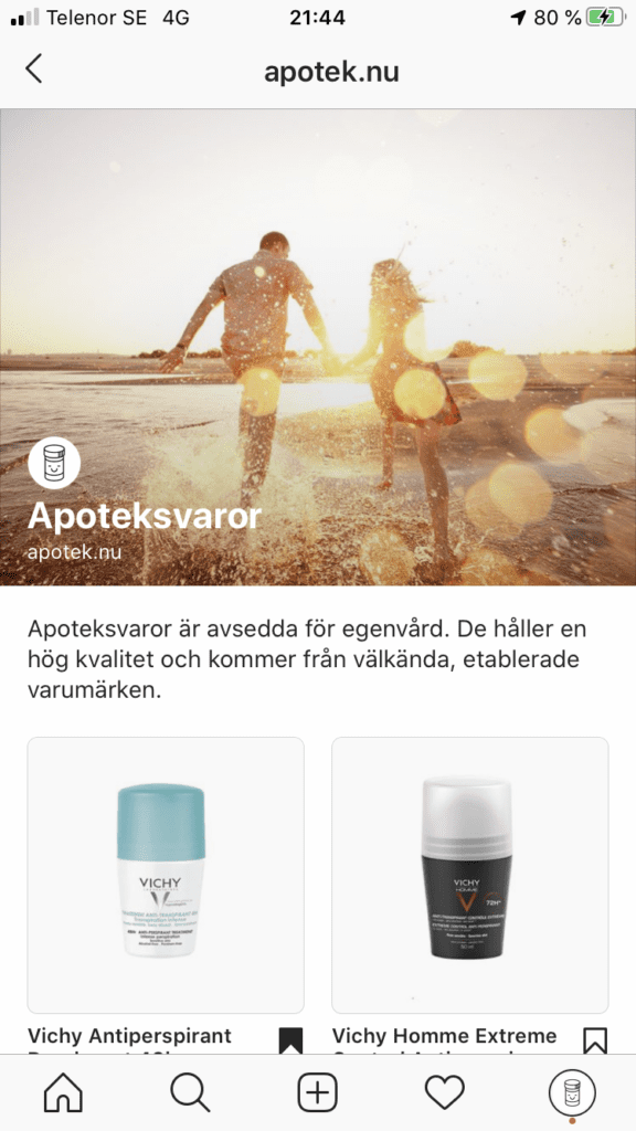 Facebook Shops - apotek.nu butik på Instagram