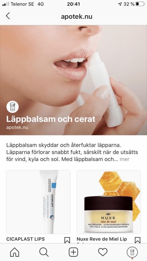 apotek.nu öppnar butik på Instagram med Facebook Shops
